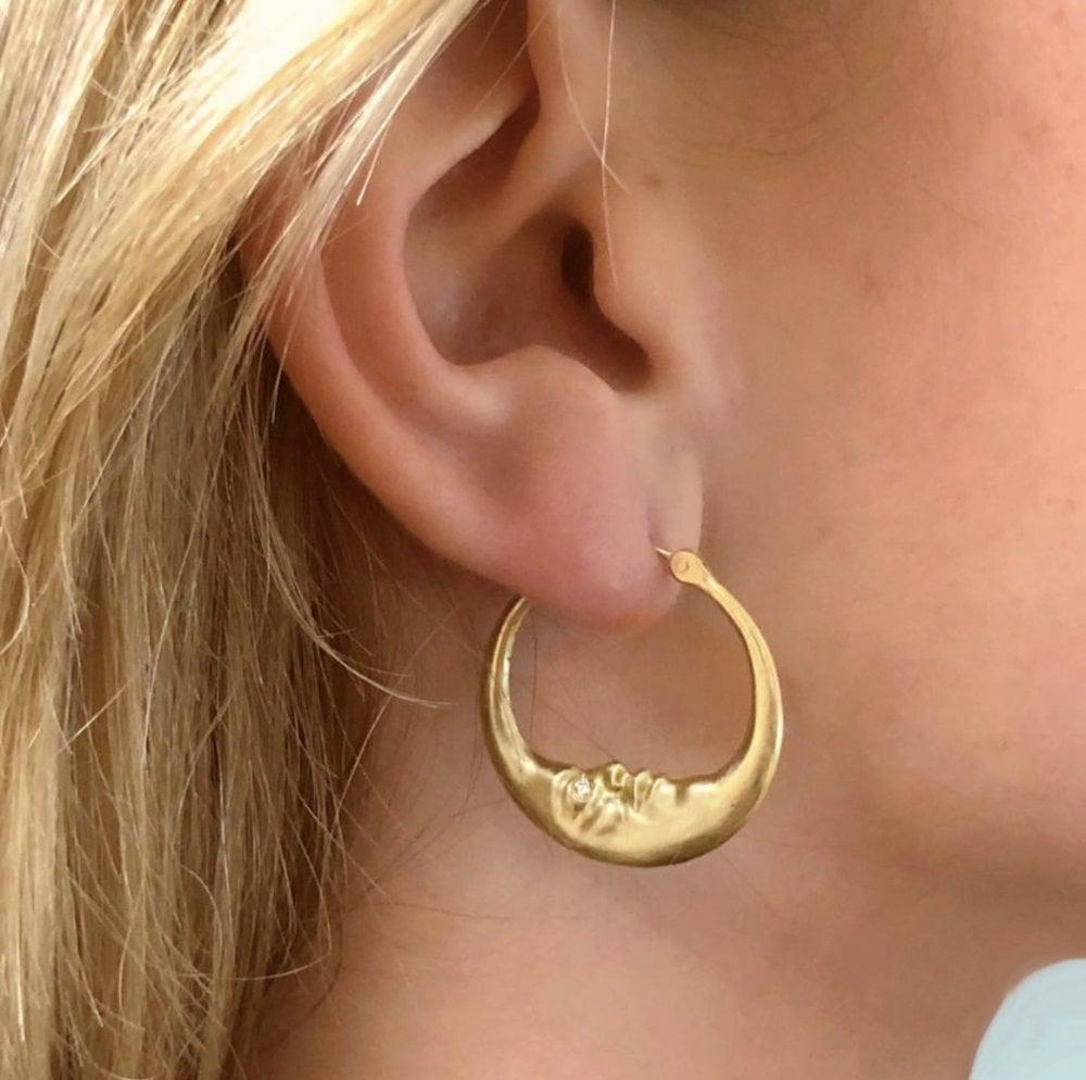 Anthony Lent Medium Crescent Moon Hoop Earrings