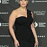 Ashley Graham One-Shoulder Black Dress
