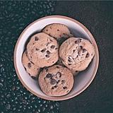 Eating freshly baked cookies.