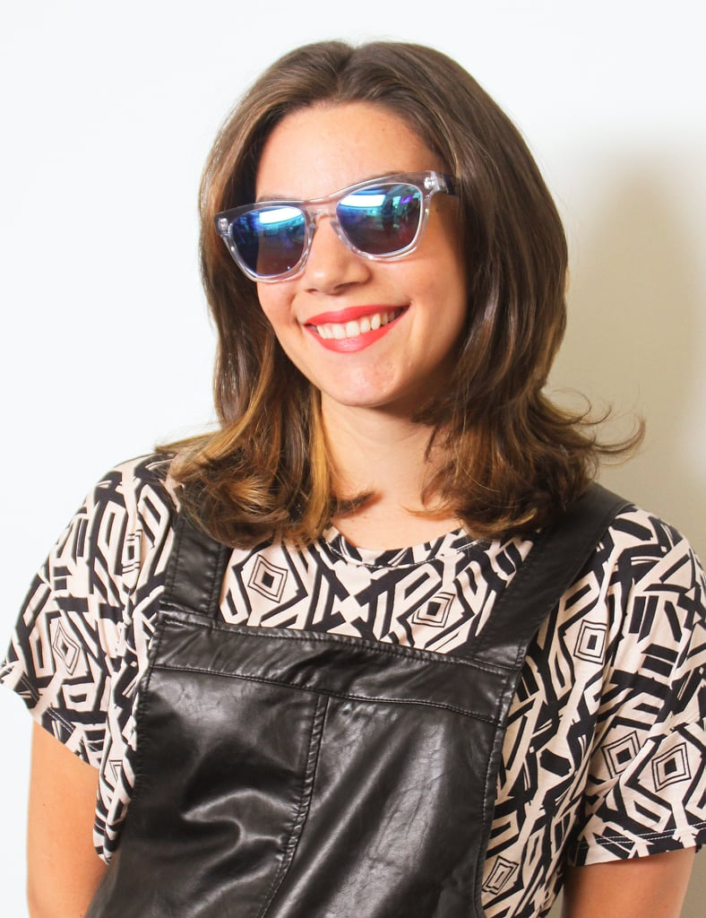 We're all about mirrored sunglasses, especially with cool clear legs and frames like on MAC Neon Orange lipstick ($16).