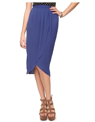 This tulip skirt has all the coverage of a pencil skirt in a decidedly more breezy shape.  Forever 21 Pleated Tulip Skirt ($20)