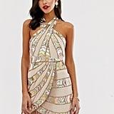 ASOS Design Mini Dress With Wrap Neck and Geo-Tribal Embellishment Fringe