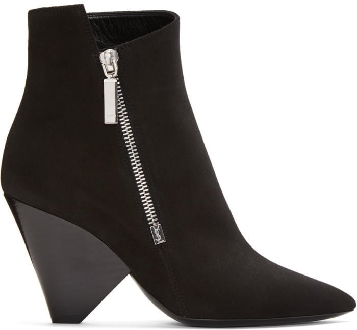 Saint Laurent Black Suede Niki Asymmetric Boots