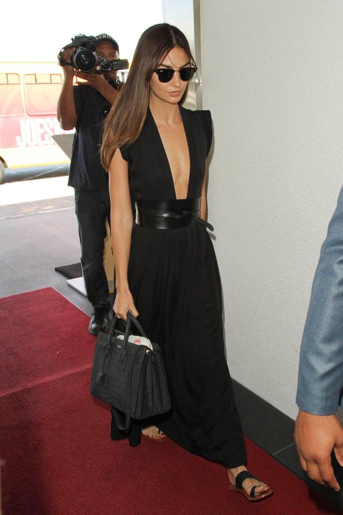 Lily Aldridge Black Maxi Dress Airport Style