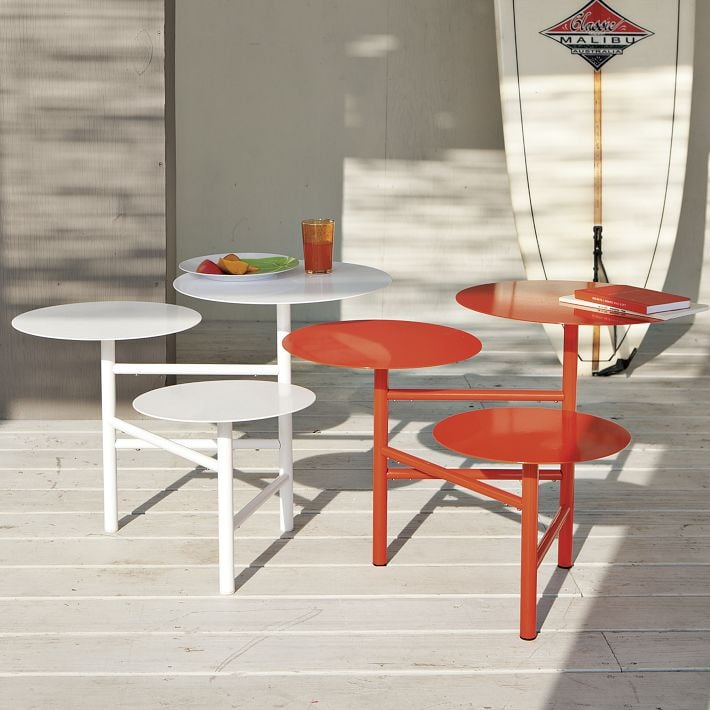 The Layered Side Table ($149) is made from powder-coated steel and comes in white and red.