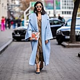 Look Chic in a Baby Blue Coat and a Clutch