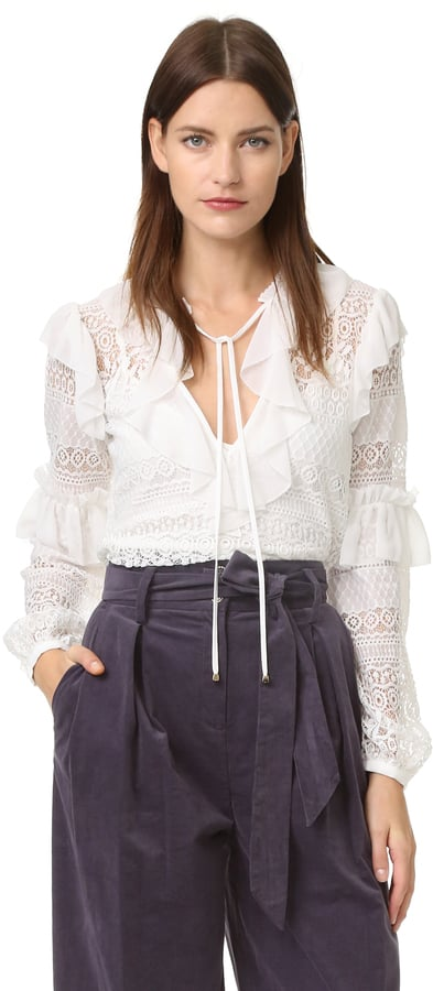 Temperley London Rope Lace Neck Tie Blouse ($595)