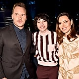 Chris Pratt, Finn Wolfhard, and Aubrey Plaza