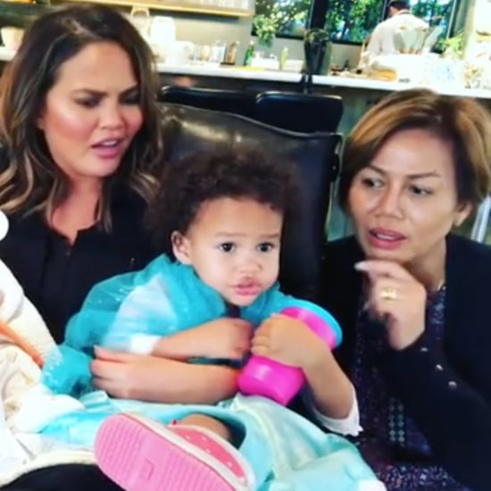 Chrissy Teigen's Selfie Stick Video of Mom, Luna, and Miles