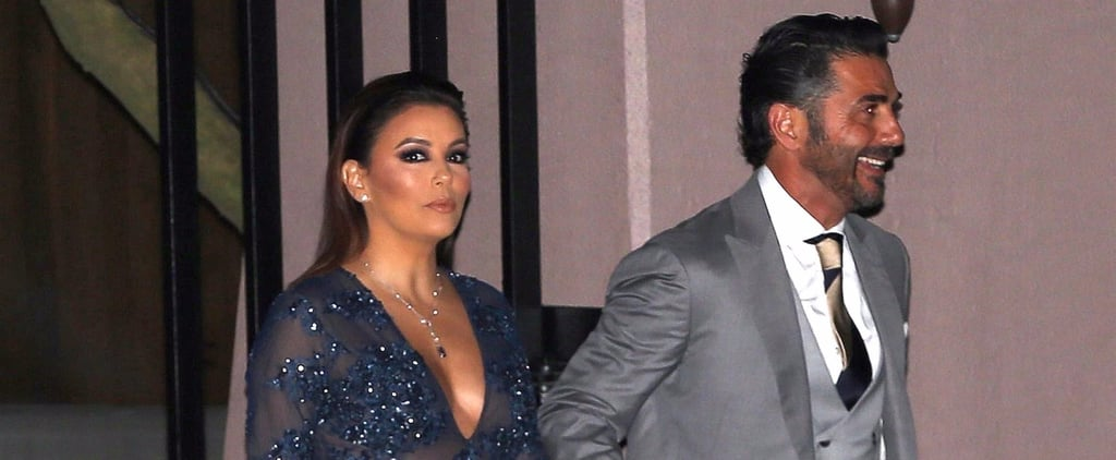 Eva Longoria Sheer Blue Dress at Serena Williams's Wedding