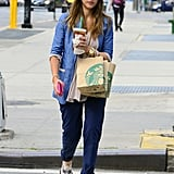 Jessica Alba wore a fedora in NYC.