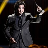 Kit Harington from Game of Thrones held up his Actor of the Year Award when he was on stage.
