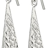 Sterling Silver Diamond Cut Long Triangle Wire Dangle Earrings