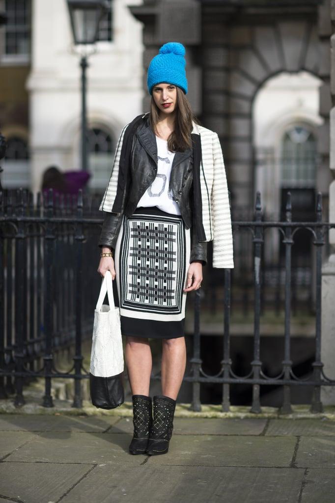 A bright beanie lent a sporty touch to a printed pencil skirt.  Source: Le 21ème | Adam Katz Sinding
