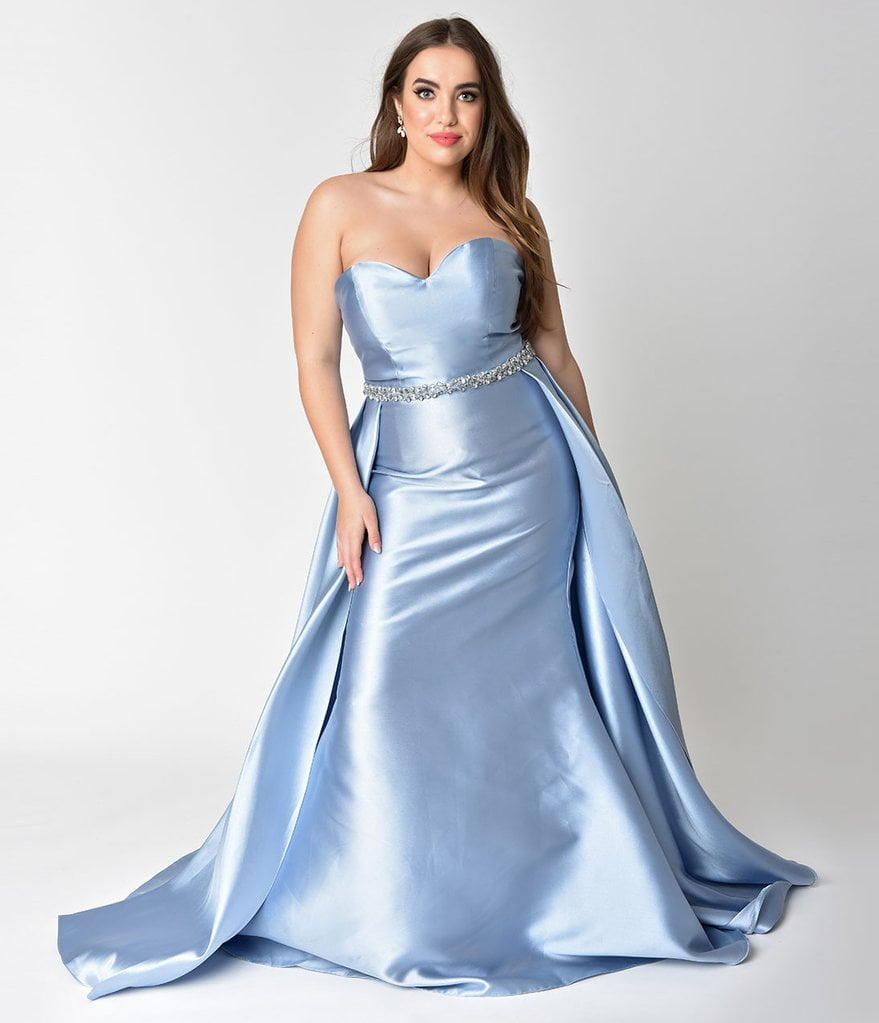 Curve Perry Blue Strapless Sweetheart Neckline Satin Prom Gown ...