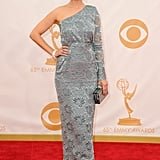 Emily Deschanel wore a one-shoulder look to the Emmys.