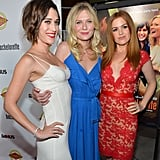 Lizzy Caplan, Kirsten Dunst, and Isla Fisher posed together at the Bachelorette premiere in LA.