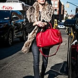 A Cherry-Red Bag and Furry Stole Are All You Need to Turn Heads on the Street