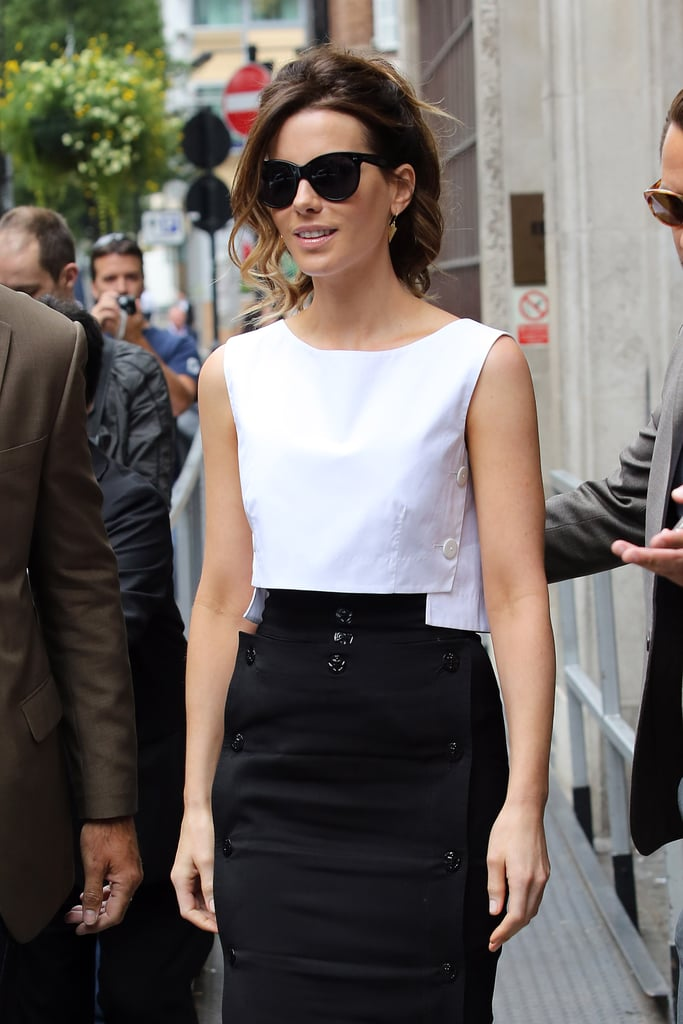 Kate Beckinsale posed outside of BBC Radio in London.