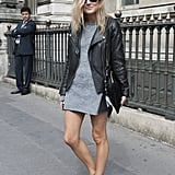 If you're not sure what he has planned, keep your hemline high and opt for comfy shoes. And, if you're worried about looking less sexy without heels, don't! The leather jacket will make up for it.