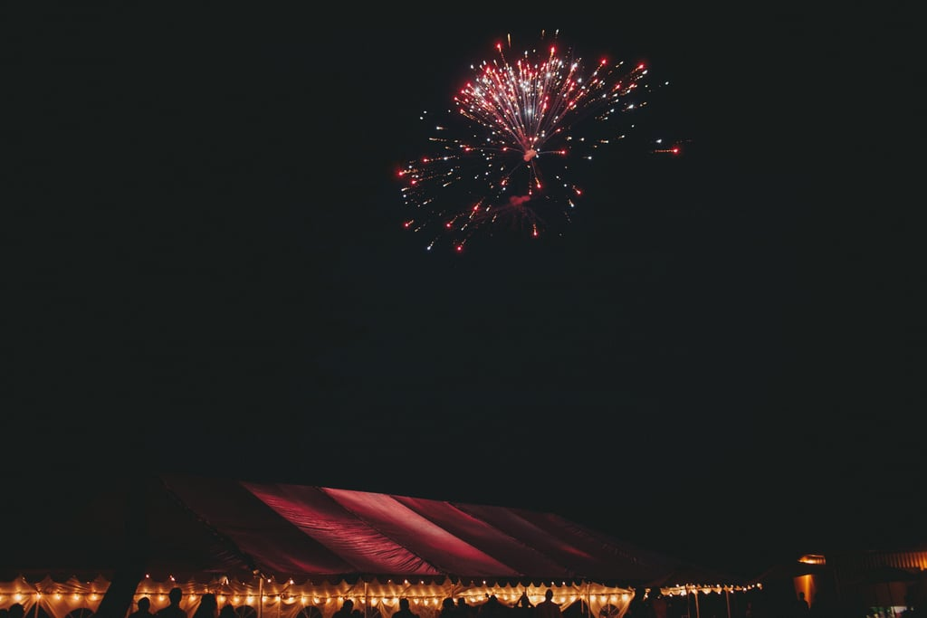 Fireworks lit up the sky over this Central California wedding.