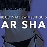The pear shape: You're curvy at the hips and thighs and smaller on top, like Beyoncé, Jennifer Lopez, and Jennifer Love Hewitt. What to look for: The key to the perfect swimsuit is balancing your proportions and getting the coverage you need for your bottom half.  Tips and tricks from fit and style experts for Everything but Water:  For a traditional fix, look for a clean-skirted bottom that falls just below the largest part of the upper leg. Avoid reaching for a boy short or thick-banded bottom. The extra fabric will only call attention to the area you're trying to mask. A plunging neckline or eye-catching top draws the eye upward, minimizing the bottom.