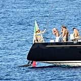 The luxury yacht dropped anchor off the coast of Portofino, Italy.