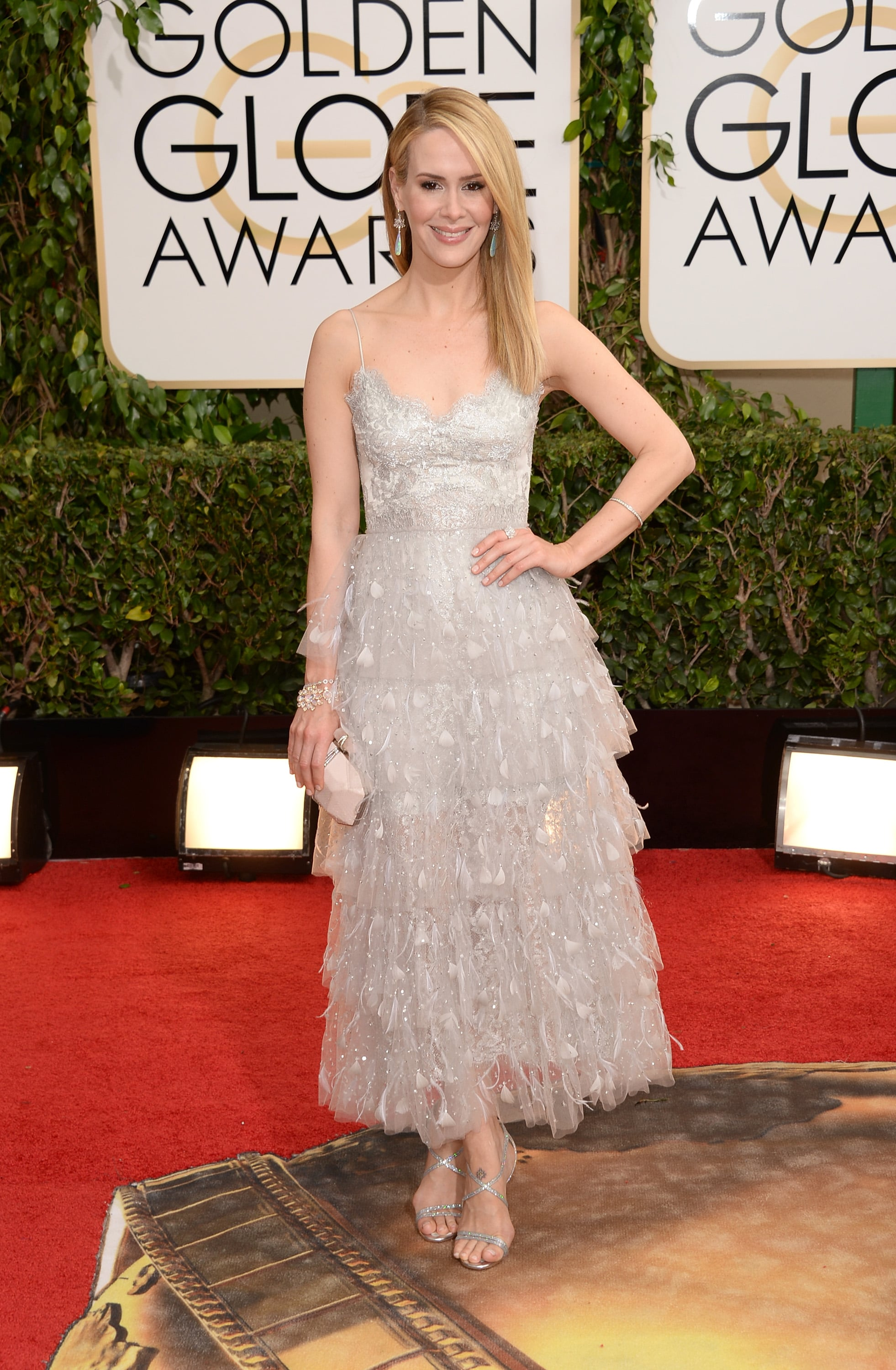 Sarah Paulson At The Golden Globes 2014 What Every Star Wore On The Golden Globes Red Carpet Popsugar Fashion Photo 54