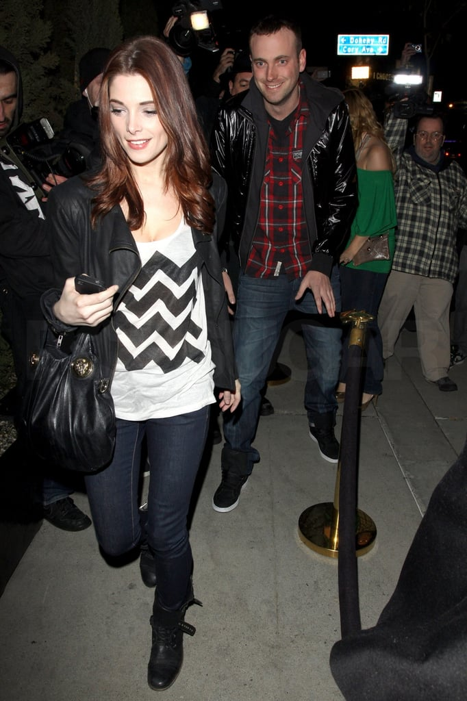 Ashley Greene treated herself with a weekday night out at LA's Trousdale lounge yesterday. The Twilight star is on the West Coast after a stint in NYC, where she hung out with her parents as news broke of her split from Joe Jonas. She also had time in the Big Apple to spend St. Patrick's Day with her old flame Jared Followill, prompting some to think they're back together. Despite the speculation, you don't seem to think they're necessarily the best celeb couple out there this Spring. It was another guy friend, though, who was by her side on her way out of the club, and Ashley's going to be up early today for a charitable Twitter interview with fans.