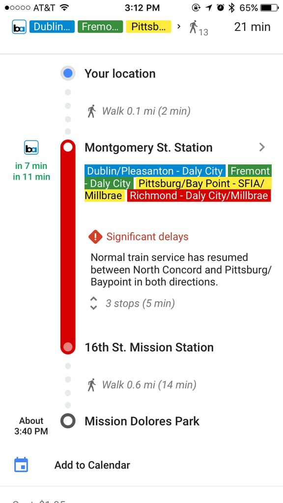 See real-time transit delays.