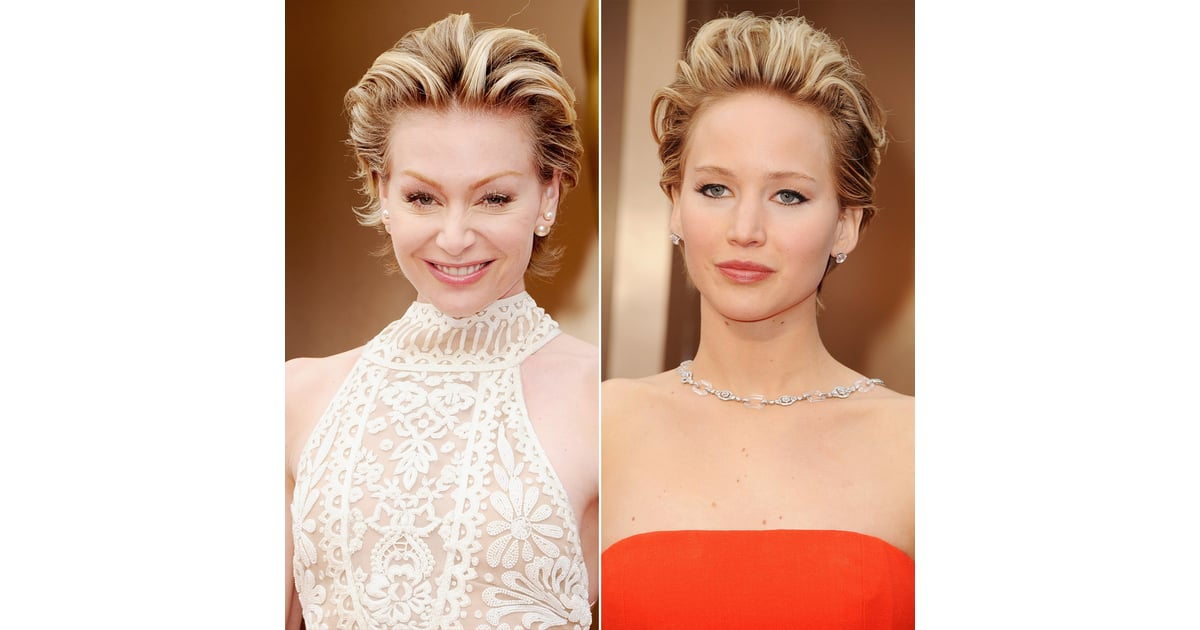 portia de rossi and jennifer lawrence red carpet hair