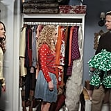 Stefania Owen as Dorrit, AnnaSophia Robb as Carrie, and Matt Letscher as Tom Bradshaw on The Carrie Diaries.