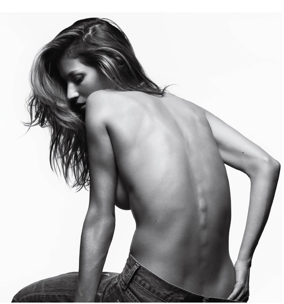 By gosh Gisele Bundchen! Can you put that toned physique, and those rock hard abs away? I'm trying to enjoy a cupcake here. The genetically blessed supe' stripped down to just her jeans and a series of midriff baring outfits for the Spring issue of V Magazine. Gisele posed for photographer Hedi Slimane for the black and white spread, and accessorized her simple denim and tee ensembles with nothing but her killer bod. Want to see more? Click right this way...
