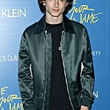 Wearing green again, Timothée attended Calvin Klein's screening of Call Me By Your Name in a bomber jacket by the brand.