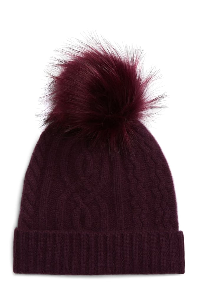 Halogen Cable Cashmere Pom Beanie