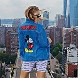 Boohoo Disney Blue Denim Jacket With Mickey Back Print