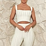 Meshki Penelope Cable Knit Crop Top  - Cream