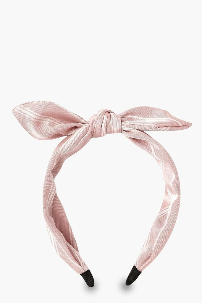 Boohoo Linen-Look Stripe Bow Headband