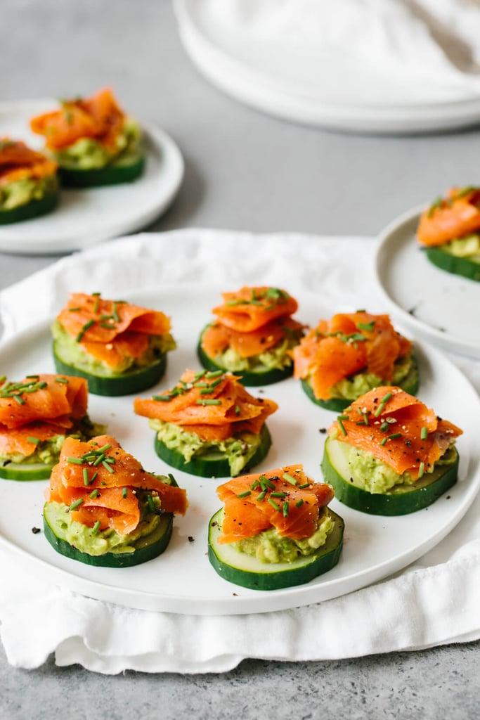 Smoked Salmon, Avocado, and Cucumber Bites
