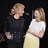 Drew Barrymore joked around with Ellen DeGeneres backstage, making for one adorable photo op.