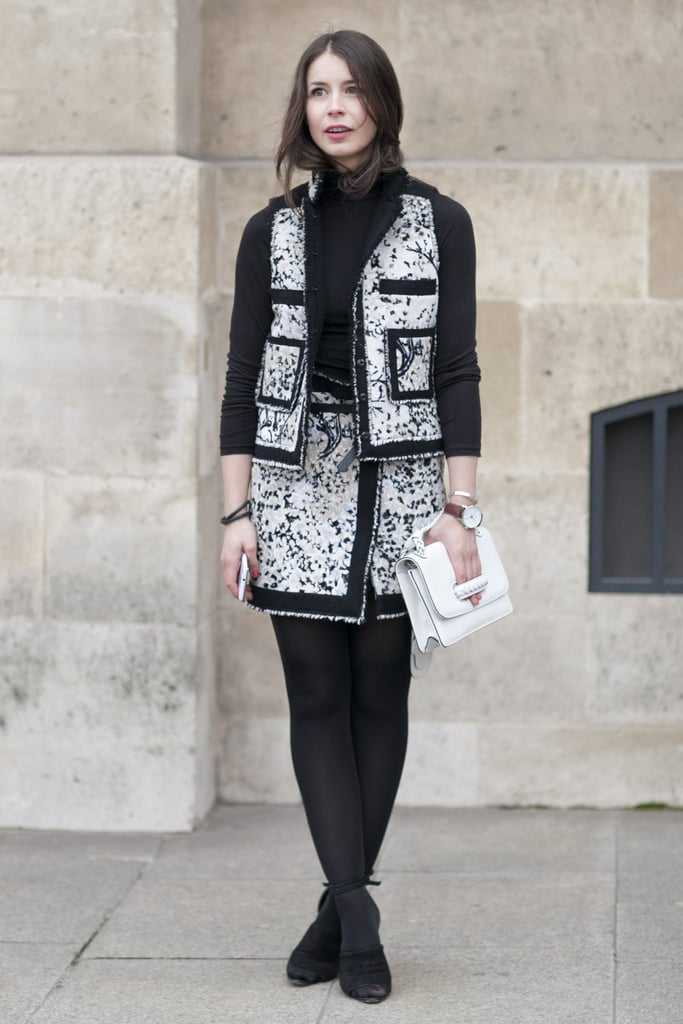 An update on the ladylike skirtsuit with a cropped jacket and miniskirt.