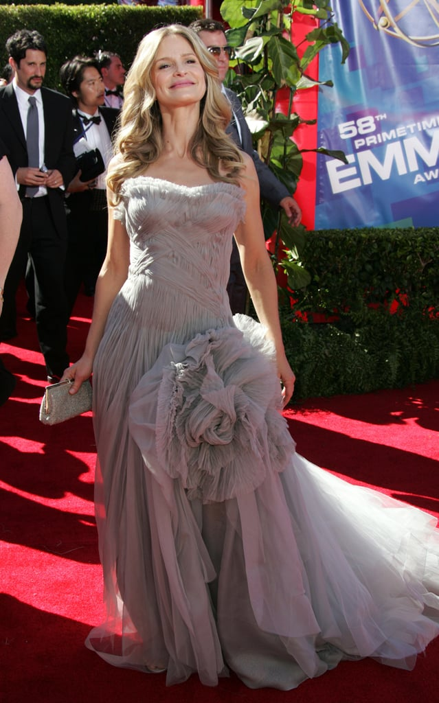 The Closer's Kyra Sedgwick selected an intricate grey gown for her walk down the red carpet in 2006.