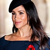 Meghan Markle's Straight Hair and Black Beret, 2018