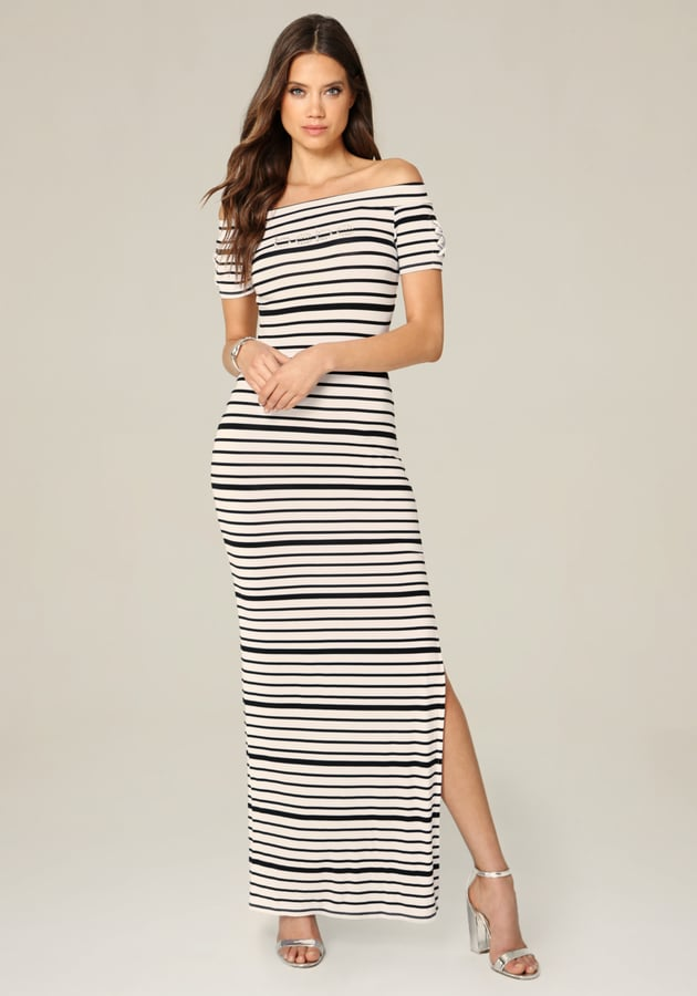 90a0d72a7ac Bebe Logo Striped Maxi Dress