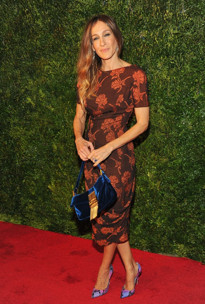 In true SJP fashion, the blond stunner unexpectedly styled a floral-print sheath dress with pink-and-purple Jean Michel Cazabat pumps and a rich royal Fendi bag at a 2011 Metropolitan Museum of Art event.