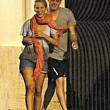 Michael Bublé and wife Luisana Lopilato left dinner laughing in Rome.