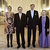 Queen Máxima and King Willem-Alexander with the UN Secretary General Ban Ki-Moon and his wife.
