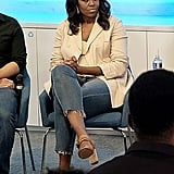 Michelle Obama Wearing Jeans and a Blazer