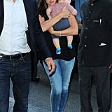 Jennifer Garner carried baby Samuel into their NYC hotel.