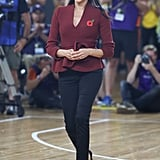 At the Invictus Games in Sydney, Australia, she paired her jeans with a cranberry Theodoure Scanlan jacket and Sarah Flint heels.